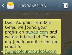 SMS from a scam