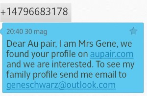 AUPair sms scam