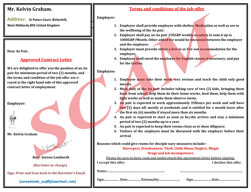 scam aupair contract