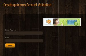 Scammer page GreatAupair.co validation
